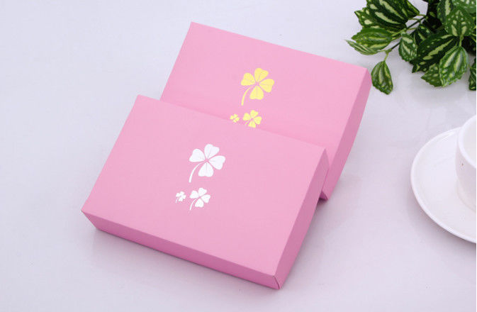 Hot Foil Stamping Underwear Packaging Box Corrugated Board Pink Color